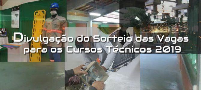Divulgação do Sorteio das Vagas para os Cursos Técnicos 1ºSem/2019