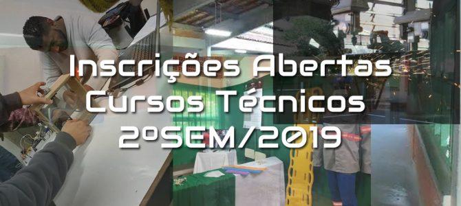 Inscrições para os Cursos Técnicos – 2ºSem/2019(INSCRIÇÕES ENCERRADAS!!)