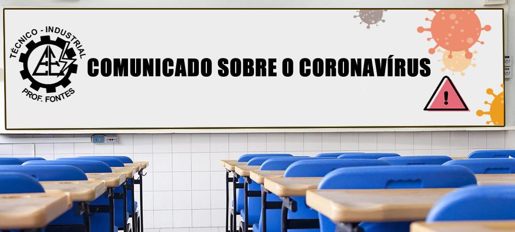 COMUNICADO SOBRE O CORONAVÍRUS